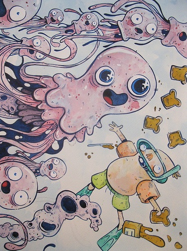 """Peanutbutter and Jellyfish, 11"""" x 14"""" Watercolour on Paper, Justin Lee Visit our website www.argylefineart.com for more information on this piece, and the artist :)"""