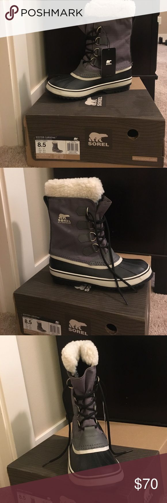 Sorel snow boots Brand new with box never worn! Gray and black with ivory padding on the inside. Great durable long lasting boot! Sorel Shoes Winter & Rain Boots