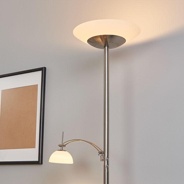 Raiko - LED-Deckenfluter mit Leselampe, dimmbar Jetzt bestellen unter: https://moebel.ladendirekt.de/lampen/stehlampen/deckenfluter/?uid=895159e7-775d-5e51-9a04-f1a3edc1ce7d&utm_source=pinterest&utm_medium=pin&utm_campaign=boards #stehlampen #lampen #deckenfluter Bild Quelle: www.lampenwelt.de