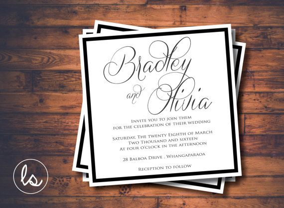 Black and White Square Wedding Invitation ~ DIY PRINTABLE ~ Professional Printing with envelopes and postage included
