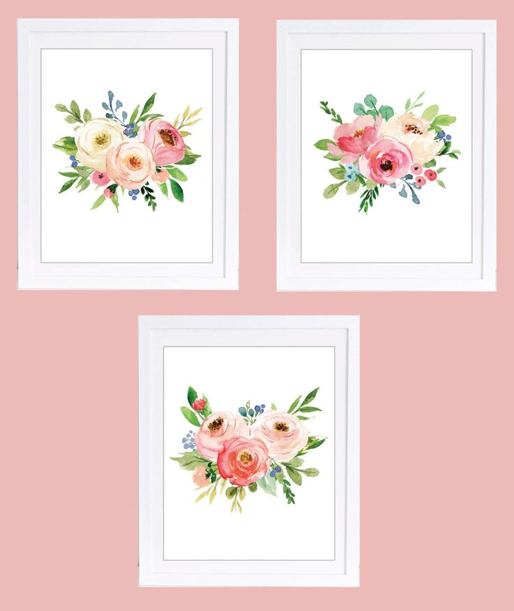 Set of 3 Floral Prints, Floral Nursery Prints, Boho Floral Prints, Rose Decor, Peony Prints, Rose Nursery Art, Girls Nursery Art by DuneStudio on Etsy