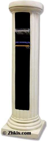 A contemporary and modern style CD rack made to hold jewel style cases. A sleek looking Greek column they can also be used as a pedestal. Made from durable fiberglass and has several finish options available for it.