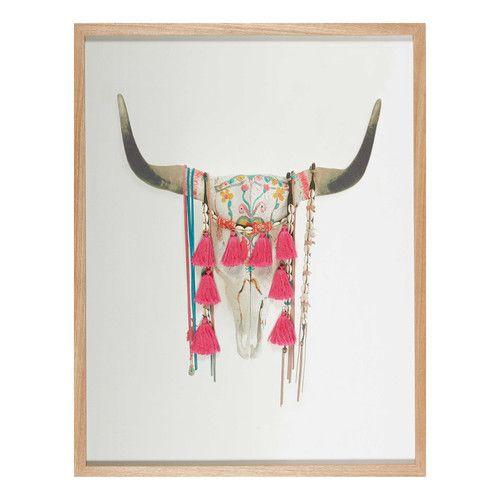Tableau tête de buffle à pompons roses 70x90cm ERNESTO