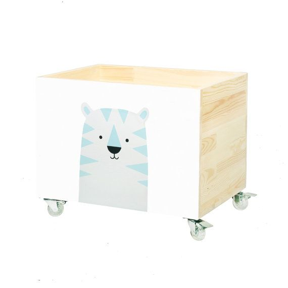 Big wooden toy chest, nursery toy box, toy bin storage, toy hope crate Tiger. Hand painted kids furniture.On wheels, casters. Hand made!