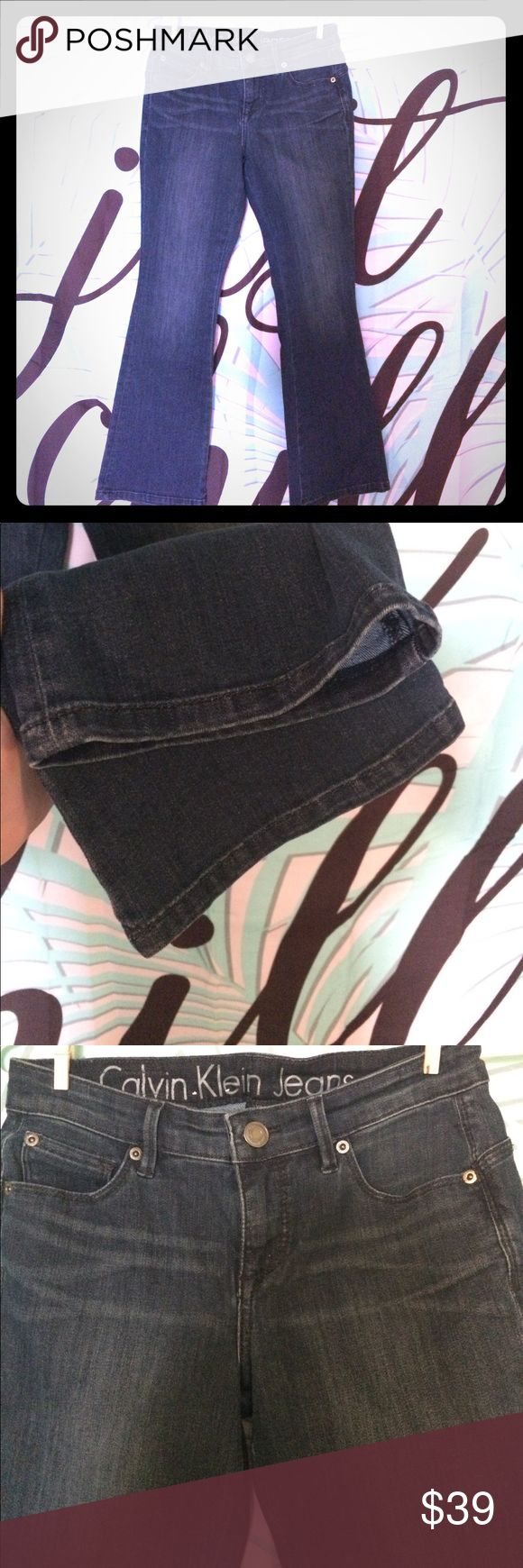 """Calvin Klein curvy boot cut jeans Excellent condition ! No noticed flaws! Basically new without tags. Some factory fading. Size 26/2p rn 36009 ca 00213. Bootleg cut, midrise waist. Dark blue. Approx 26"""" inseam 26"""" waist 9"""" rise Calvin Klein Jeans Jeans Boot Cut"""
