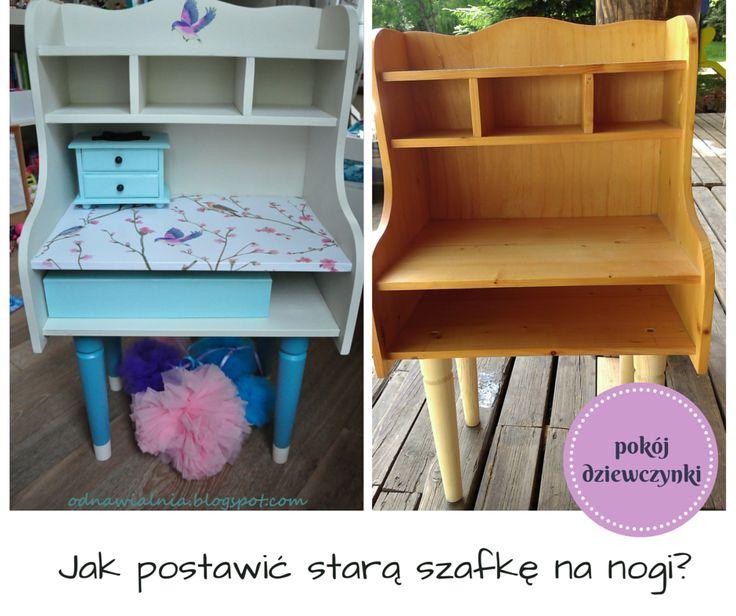 szafka nocna, stolik, konsolka dla dziewczynki, biała szafka na nóżkach