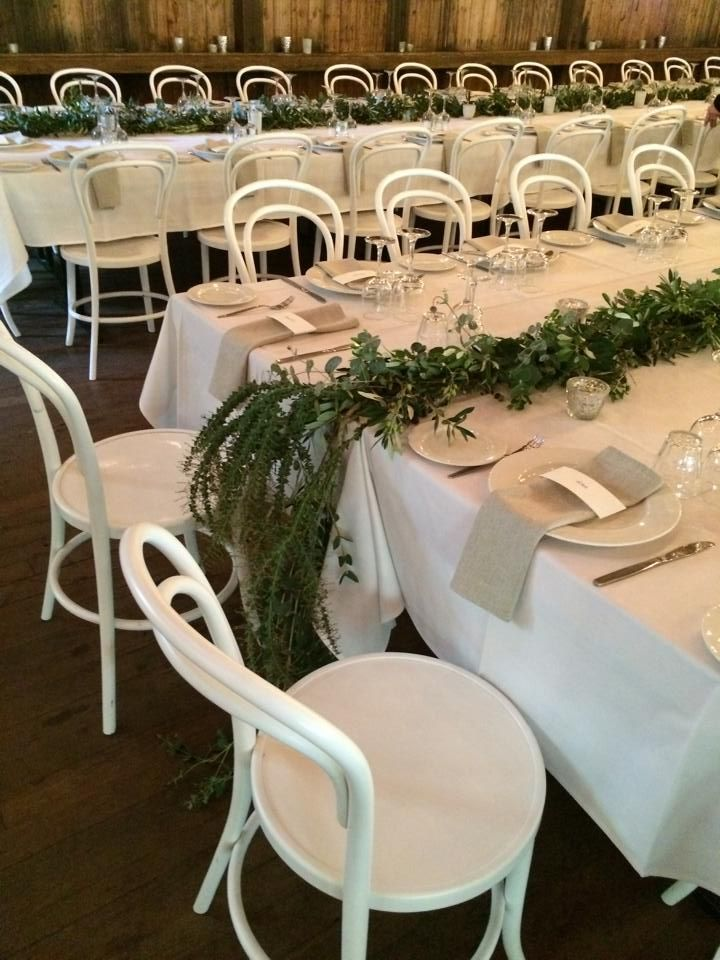 Romance at Glen Ewin Estate Bentwood Chairs & natural napkins with fresh cascading foliage...