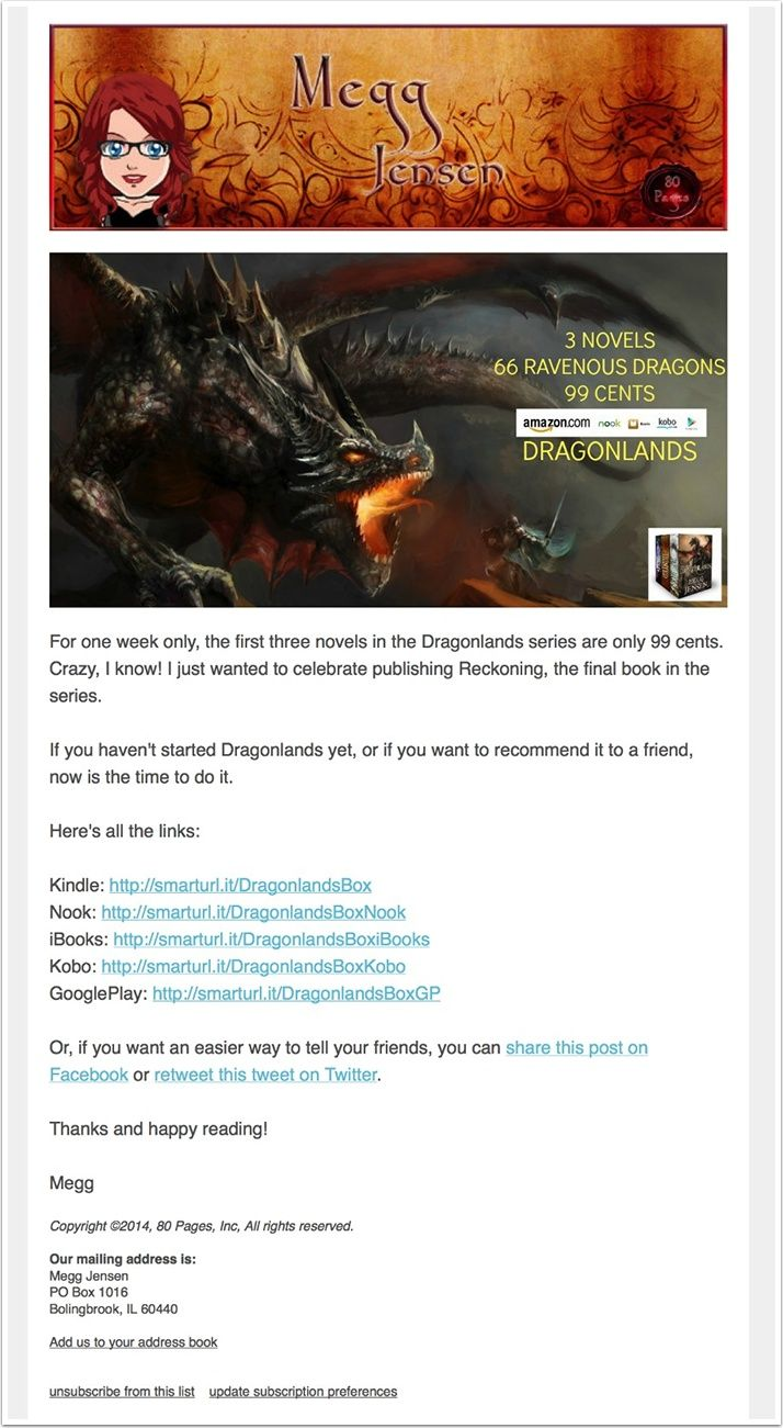 Megg Jensen Newsletter Example
