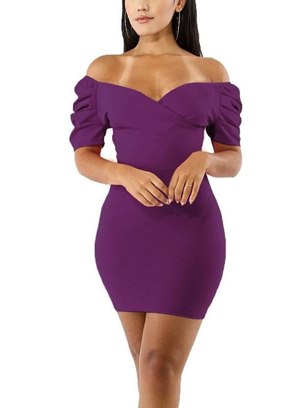 cc7c1d6b6910 Sexy Off Shoulder V-Neck Hip Dress-Purple