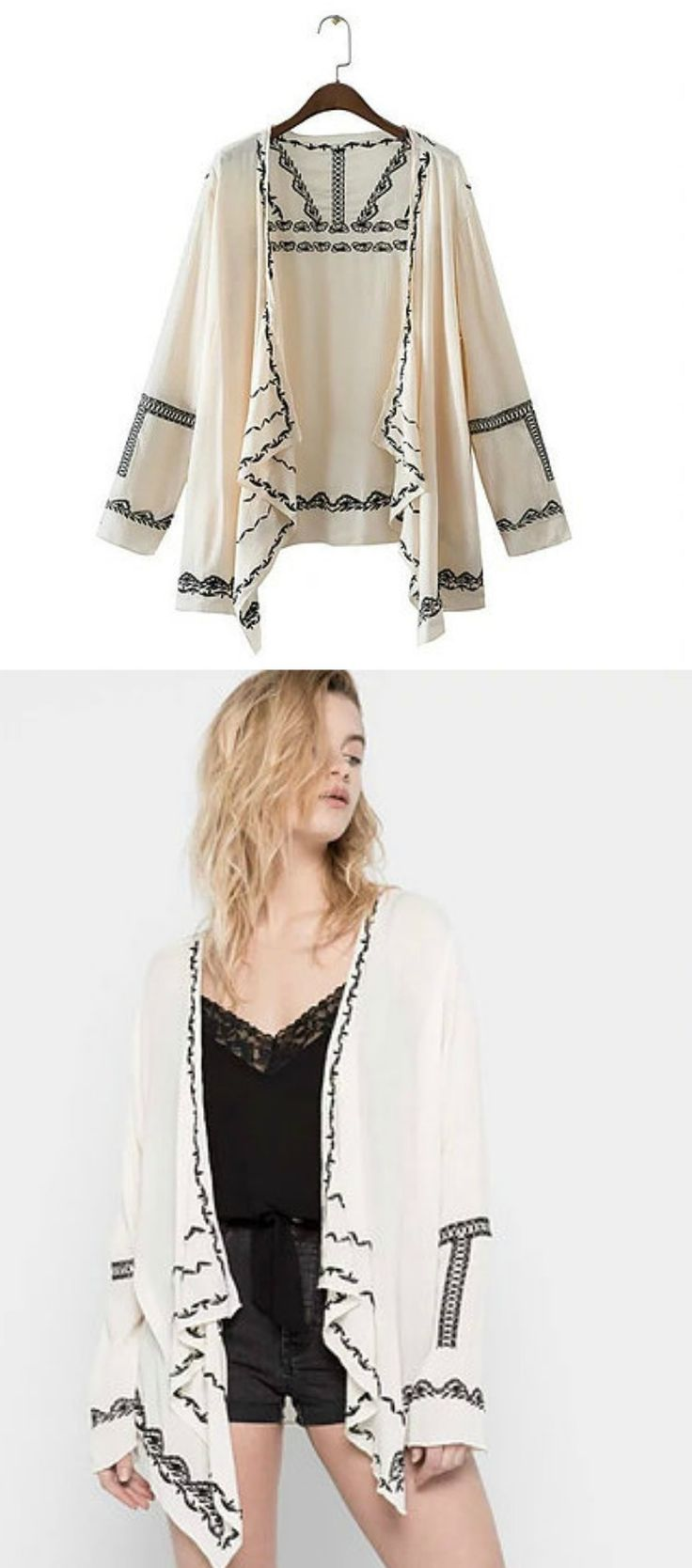 $36 - Gypsy Kimono Cardigan is Available at Pasaboho ( Free Shipping Worldwide ) *A Boho Hippie Style Cardigan Top with embroidery patterns
