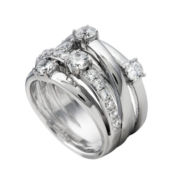 Wickel-Ring silber mit weißen Diamonfire-Zirkonia und breitem Ringband | Ringe | Cocktail | 10 Characters | Diamonfire