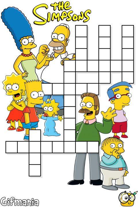 palabras cruzadas los Simpson #simpson #cruzadas #pasatiempos