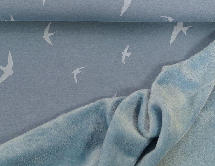 Stoff Vögel - 512 Alpenfleece Schwalben Blau - ein Designerstück von my-kati bei…