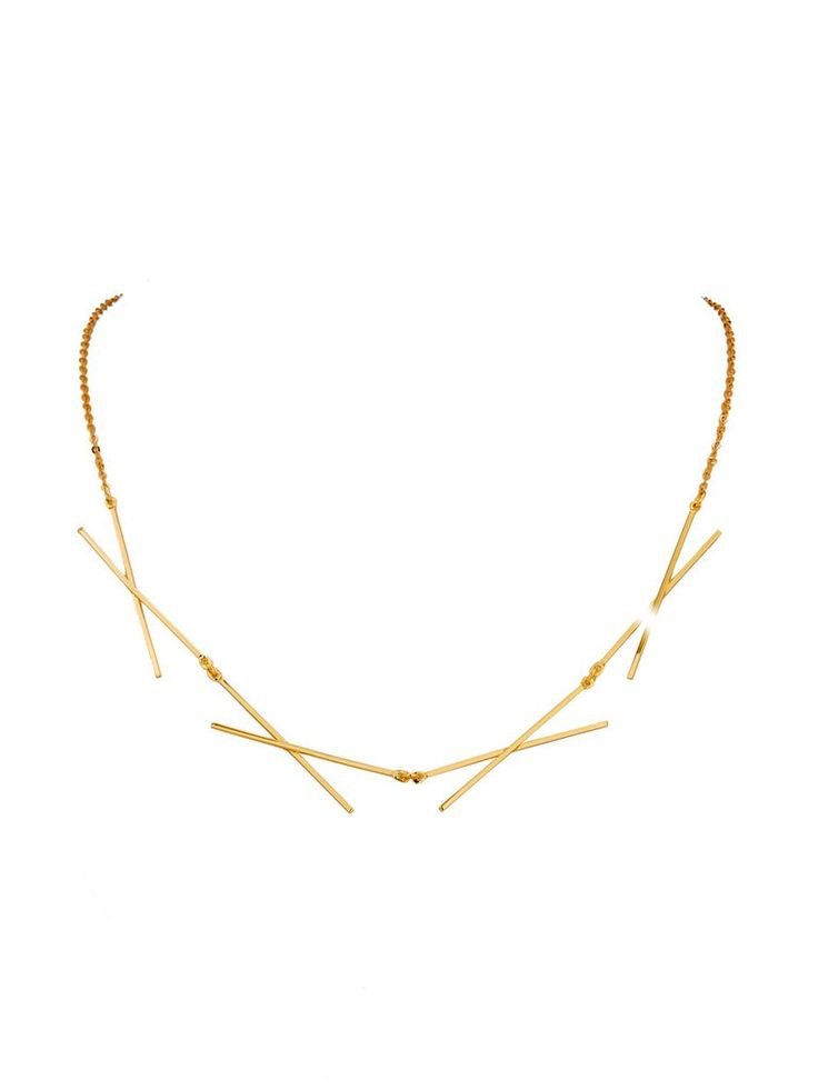 14K Yellow Gold Criss Cross Necklace
