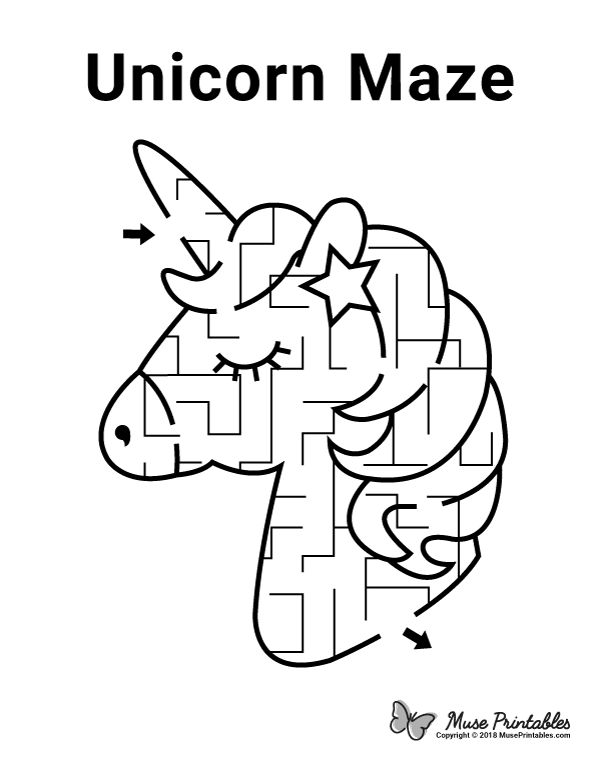 Free printable unicorn maze. Download it at https ...