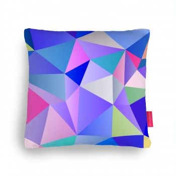 Blue Polygons Cushion by House of Jennifer in the ohhdeer.com #pillowfight competition #art #design #geometric #pillows #home #houseofjennifer