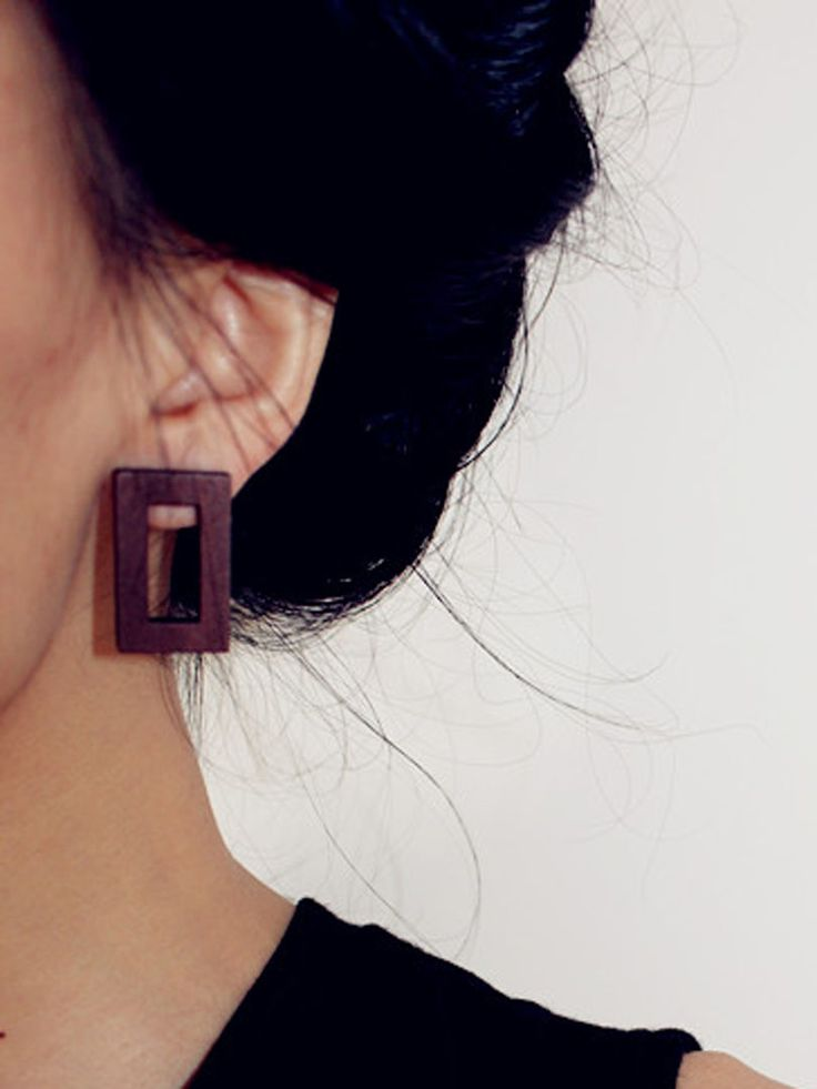 Dark Brown Square Shape Wooden Earrings