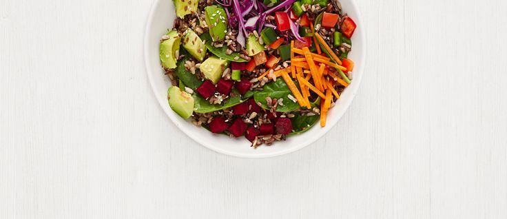 wild child  organic wild rice + organic baby spinach, cilantro, peppers, raw beets, shredded cabbage, carrots, raw seeds, avocado, miso sesame ginger dressing