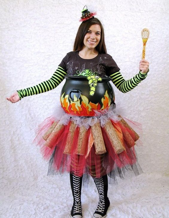 Creative ideas Maternity Halloween costumes bubbling cauldron cool witch costume