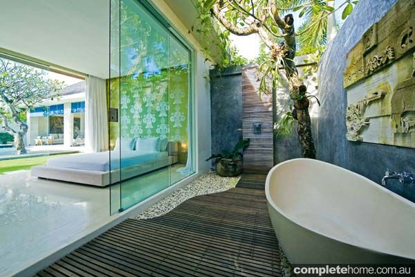 Take inspiration from this outdoor bathroom at the luxury Chandra Villa in Bali (The ultimate outdoor bathroom guide   Complete Home)