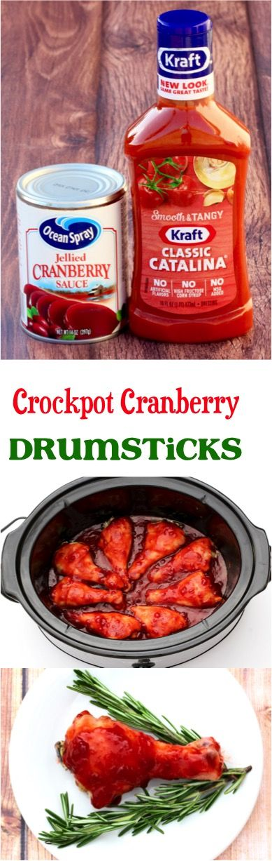 Crock Pot Cranberry Chicken Drumsticks Recipe! Just 3 ingredients! | NeverEndingJourneys.com 6m