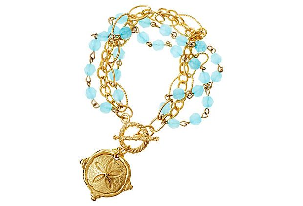 Hand-Cast Gold Sand Dollar Turq Bracelet on OneKingsLane.com