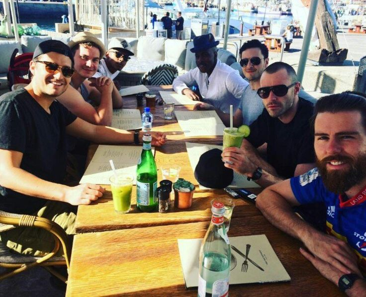Ben Aldridge with some of the Our Girl cast in Cape Town.