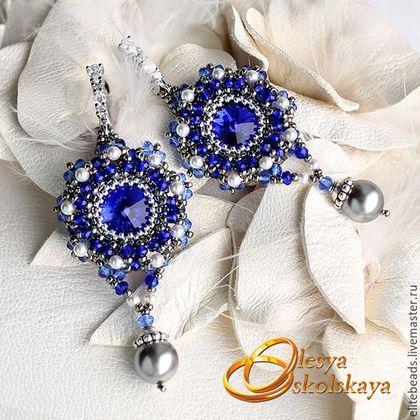Серьги ручной работы. Ярмарка Мастеров - ручная работа. Купить №206 DEEP BLUE Серьги с темно-синими кристаллами. Handmade.