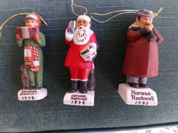 Vintage Three Norman Rockwell Christmas ornaments, three vintage ...