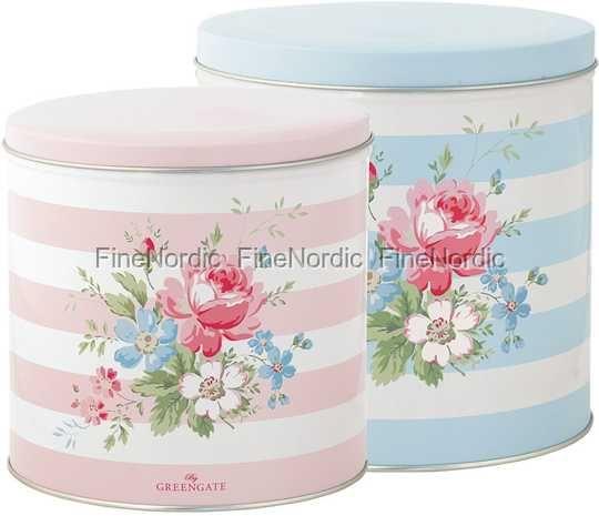 GreenGate Dåser - Tin Box Round Marie - Sæt med 2
