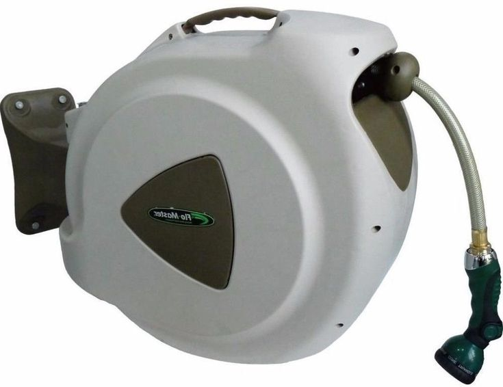 Modern 65 ft. Retractable Hose Reel with 8-Pattern Nozzle and Carrying Handle #hose reel