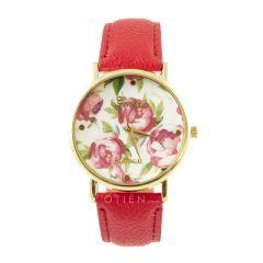 Zegarek czerwony róże kobiecy