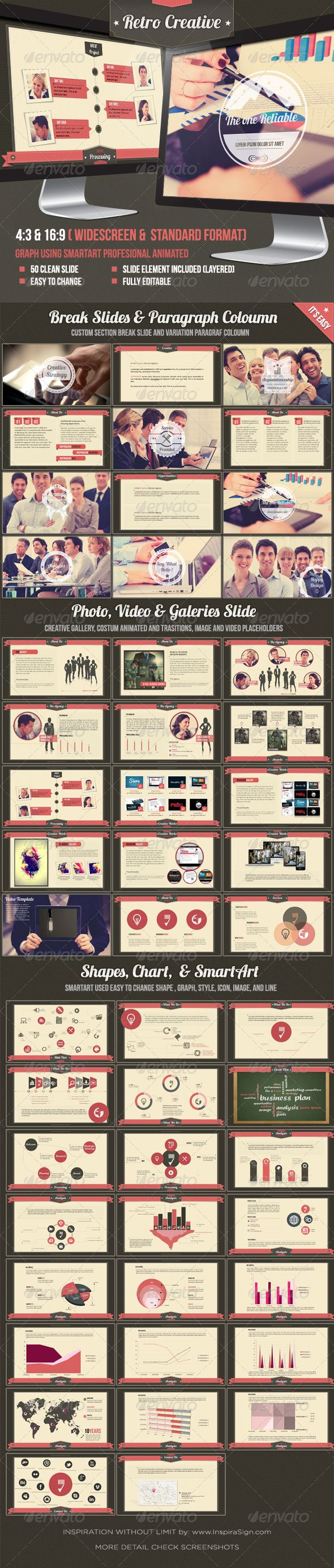 Retro Business Creative Agency Powerpoint Template - Creative Powerpoint Templates