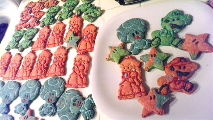 mario cookies made with 3D printed cookie cutters