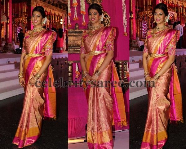 Bridal Mehndi Sarees : Light orange benaras bridal saree celebrities sarees