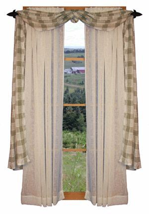 Country Window Treatment, Primitive Country Curtains, Rustic Window Treatment, Country Primitive Curtains