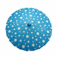 "32"" Turquoise Polka Dot Paper Parasol Umbrella"