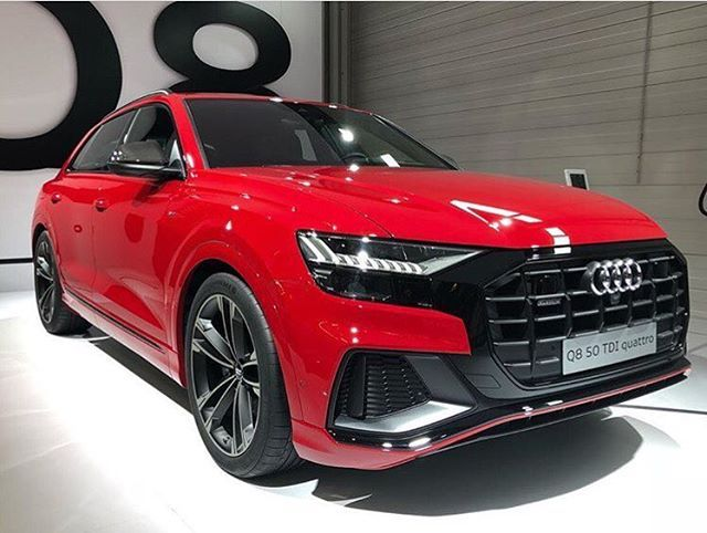 1st New Q8 Color Combo I Am Not Sure About How About You Audi Lifestyle Mr Strauss Red Newq8 With Blackoptics Pack Now Wa New Audi Car Audi Cars Red Audi