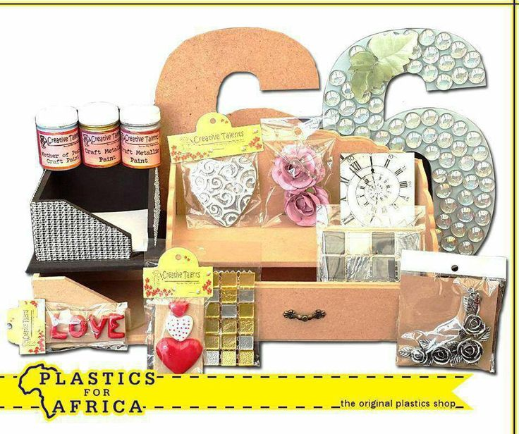 Create your own beautiful gifts with these mosaics, paints and craft accessories, available from your nearest #PlasticsforAfrica store. #gifts