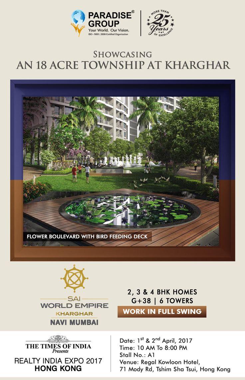 The Times of India Presents #RealtyIndiaExpo2017Hong Kong  www.paradisegroup.co.in  Contact: 022 2783 1000  #RealEstate #TOI #NaviMumbai