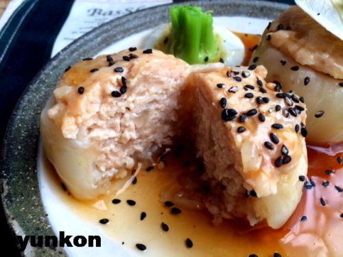 【簡単!!】おすすめです。レンジで*かぶの肉詰め蒸しあんかけと、かぶの葉ふりかけ | 山本ゆりオフィシャルブログ「含み笑いのカフェごはん『syunkon』」Powered by Ameba