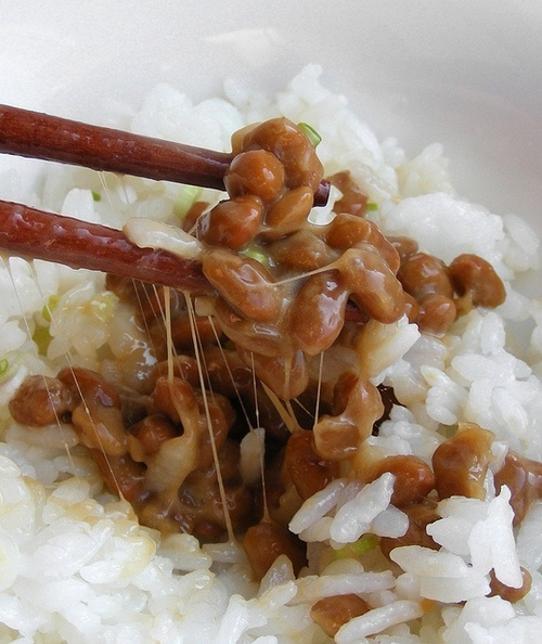 I loved this on my rice. Natto 納豆 - traditional Japanese food made from soybeans fermented with Bacillus subtilis and contain many kinds of nutrients, such as protein.