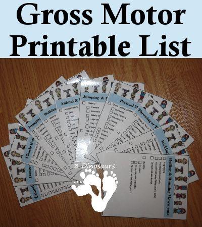 Free Gross Motor Printable List - 3Dinosaurs.com