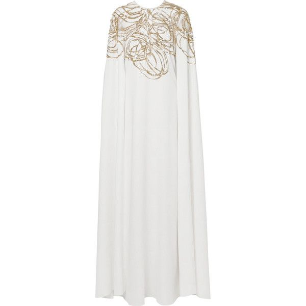 Oscar de la Renta Cape-effect embellished tulle and silk-cady gown ($4,690) ❤ liked on Polyvore featuring dresses, gowns, white, white dress, white tulle dress, tulle gown, white ball gowns and white silk dress