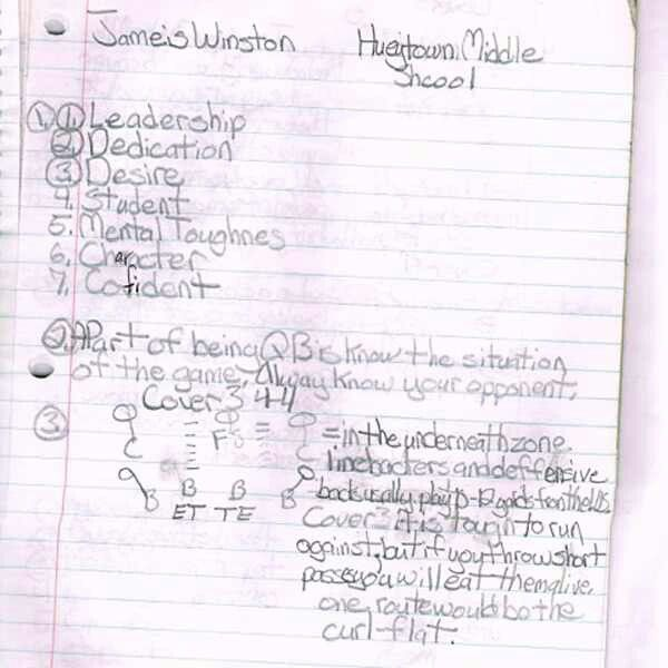 FSU quarterback Jameis Winston's goals when he was 12 yrs old. Impressive!