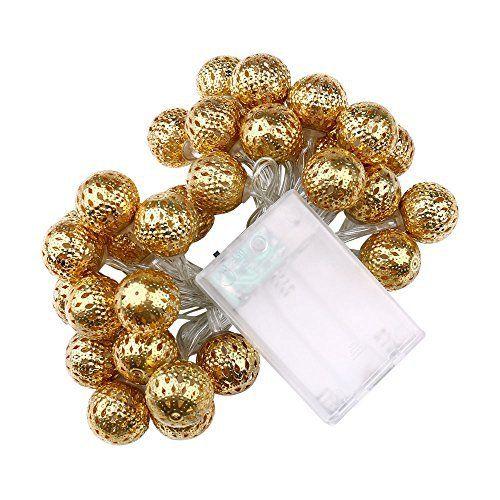 lederTEK guirlande lumineuse led à pile en forme de boule marocaine 3.3M 30 LED pour le Noël, la maison, jardin, patio, pelouse, fête et…