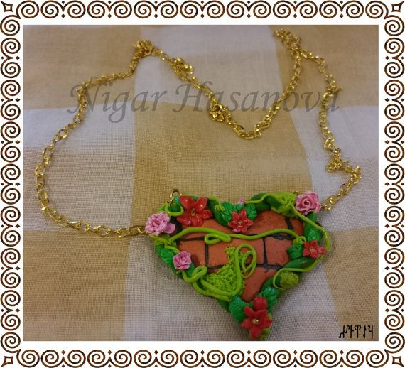 Jewelry necklace  handmade from polymer clay от CurlyTuranStore