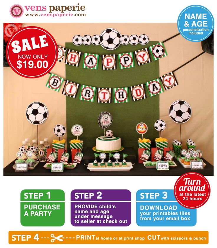Soccer Birthday Party Package Personalized FULL by venspaperie