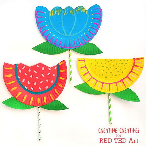 Paper Plate Flower Craft For Kids Spring Crafts For Kids Flower