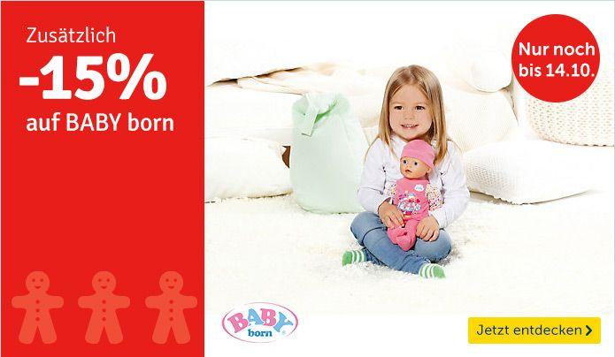 Bis zum 14.10.2015 gibt es 15% Rabatt auf Baby born!  #babyborn #rabatt #spielzeug #puppen #weihnachten